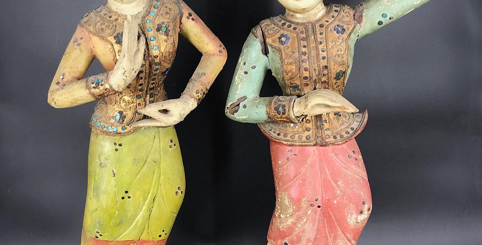 Extrêmement rare paire de STATUES DANSEUSES TRADITIONNELLES, BALI, INDONÉSIE