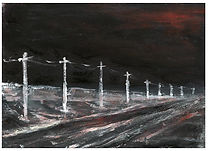 Frozen Road and Telegraph Poles