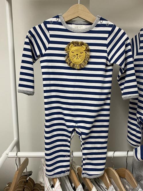 Albetta Crochet Lion Babygro- Navy Stripe