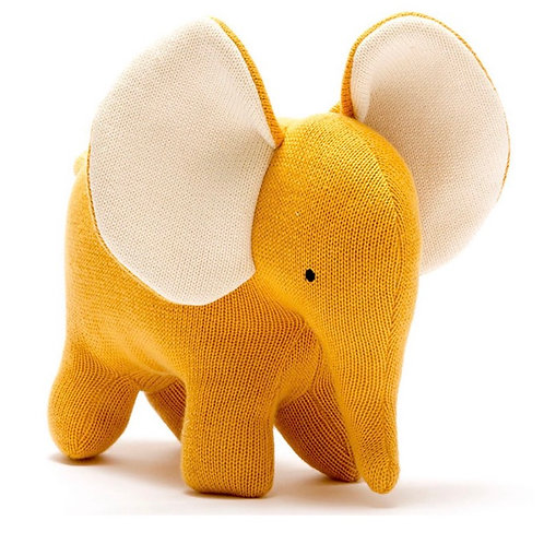 Large Elephant Organic Cotton Toy- Mustard