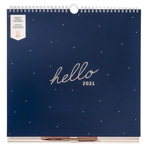 Busy B weekly Family Calendar 2021- Navy