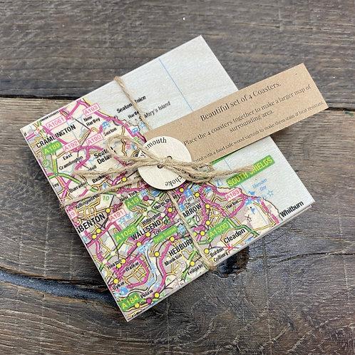 Tynemouth Map Coaster Set- Set of 4