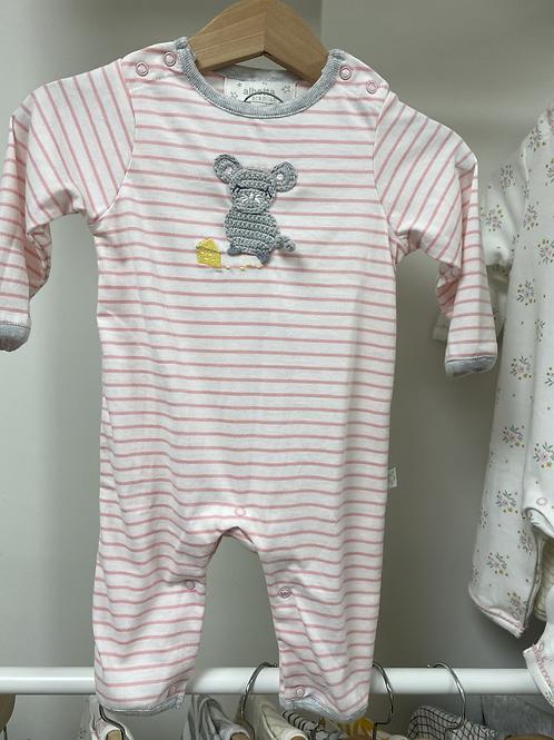 Albetta Crochet Mouse Babygro - Pink Stripe