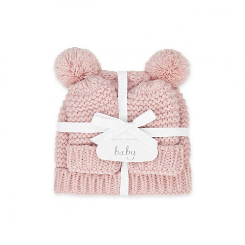 Katie Loxton Hat & Mittens Set 0-6Mnths- Pink