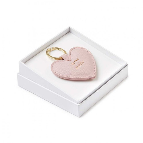 Katie Loxton Sentiment 'Super Mum' Heart Keyring- Nude Pink