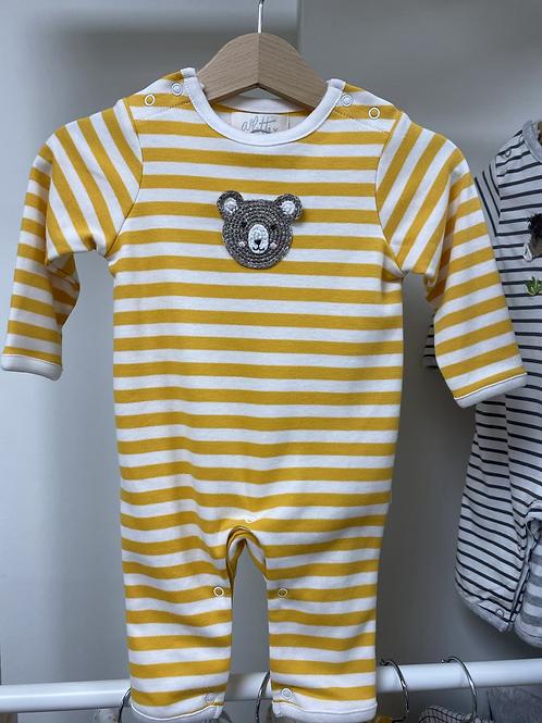 Albetta Crochet Bear Babygro- Mustard Stripe
