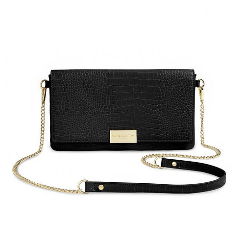 Katie Loxton Celine Faux Croc Foldover Crossbody Bag- Black