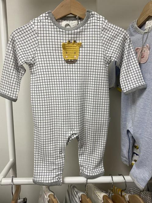 Albetta Crochet Giraffe Babygro- Charcoal Check