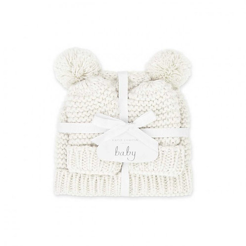 Katie Loxton Baby Hat & Mittens Set 0-6Mnths- White