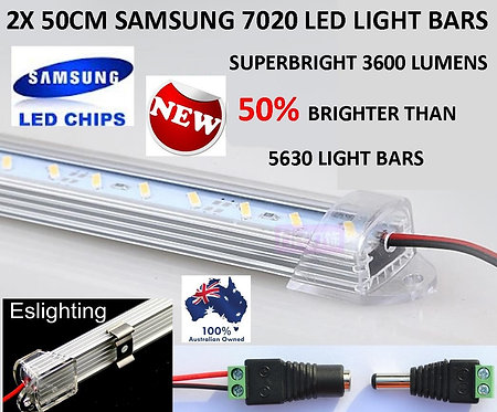 2X 12V 50CM SAMSUNG LED DIMMABLE LIGHT BAR UTE 4WD