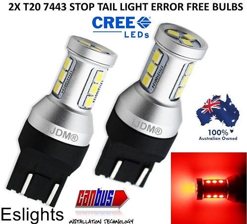 2X IJDM T20 7443 CANBUS BRAKE STOP TAIL LIGHT LED BULBS