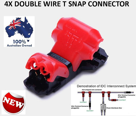 4X T SNAP LOCK DOUBLE WIRE TERMINAL CONNECTORS