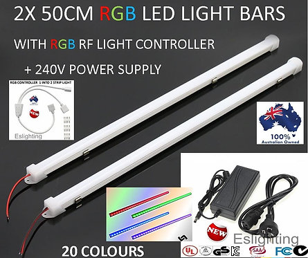 2X 50CM 240V COLOUR CHANGING LED STRIP LIGHT BAR