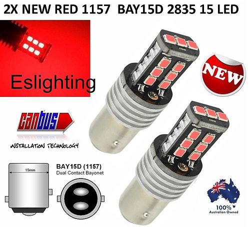 2X BAY15D CANBUS RED 2835 15 LED BULB SUPERBRIGHT