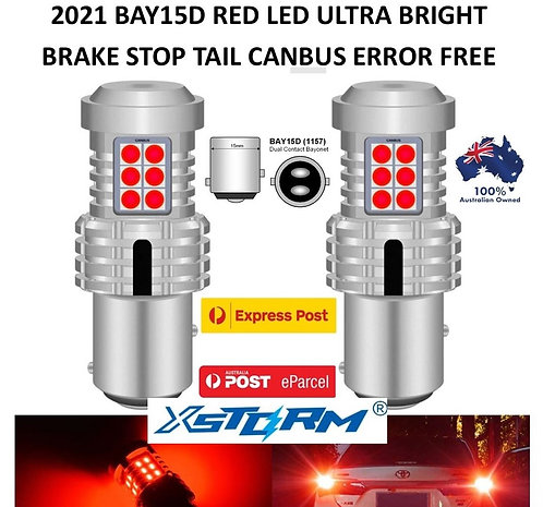 2X 2021 XSTORM 1157 BAY15D CANBUS BRAKE STOP TAIL LIGHT LED BULBS