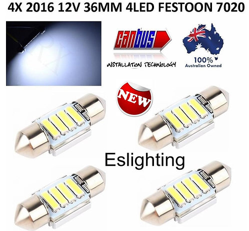 4X 36MM CANBUS FESTOON 4 LED 7020 BULB