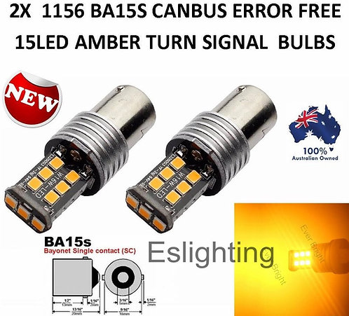 2X BA15S CANBUS INDICATOR TURN SIGNAL 15 LED BULBS