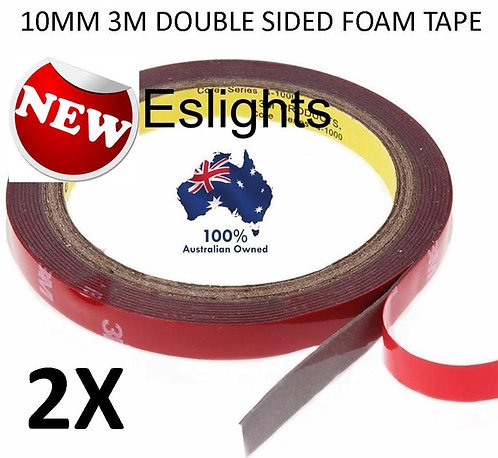 2x 3m 10mm HIGH STRENGTH DOUBLE SIDED STICKY TAPE