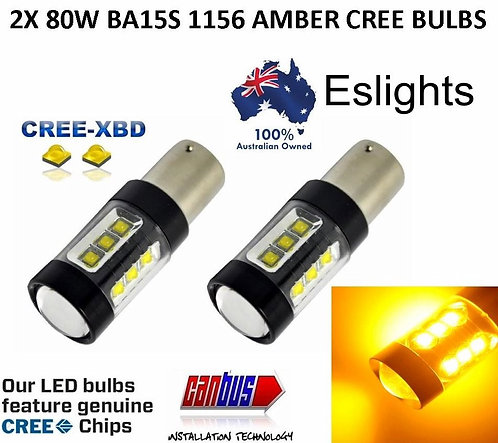 2X 80W CREE BA15S INDICATOR TURN SIGNAL BULBS