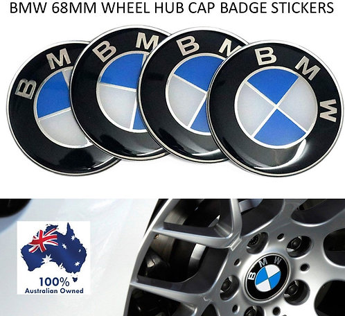 4 X 68MM BMW ALLOY WHEEL CENTRE WHEEL BADGE HUB CAP STICKERS