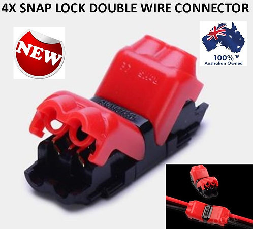 4X SNAP LOCK DOUBLE WIRE TERMINAL CONNECTORS