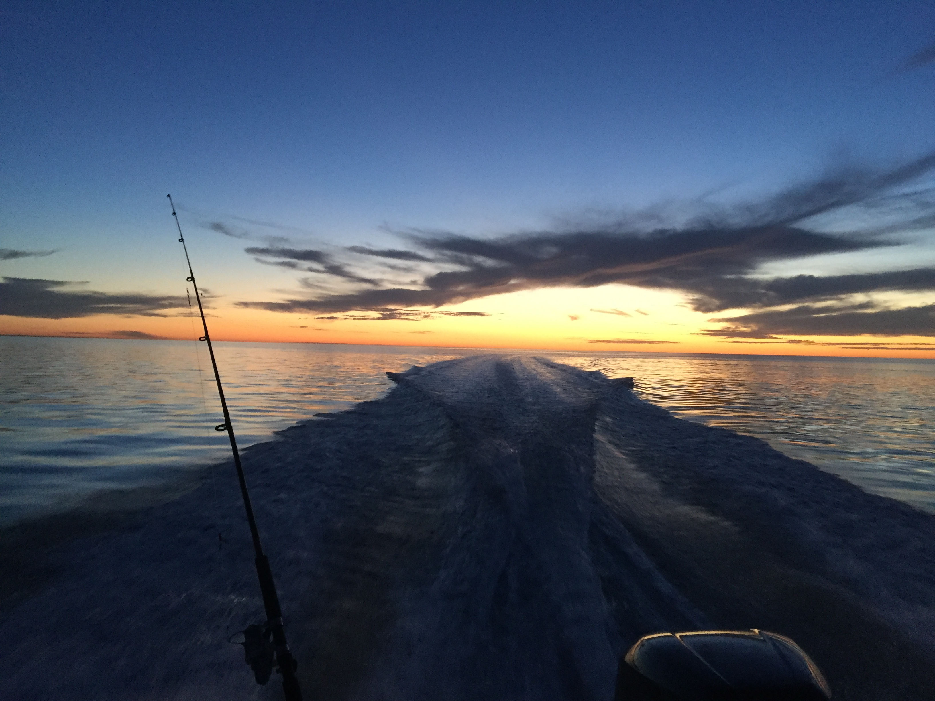 View of the sunset from Rowey's boat