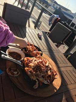 Rowey's feast after a day of fishing