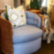 Vintage chair with chambray upholstery