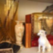 Vintage blown glass vases, ceramic dog figurine