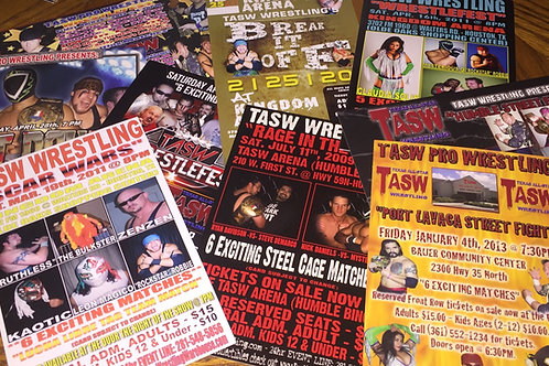 Set of 15 different 4x6 size advertising post card style flyers from TASW Events