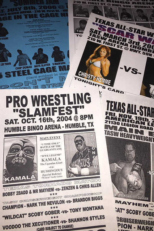 Set of 20 different posters from old TASW Texas All-Star Wrestling events