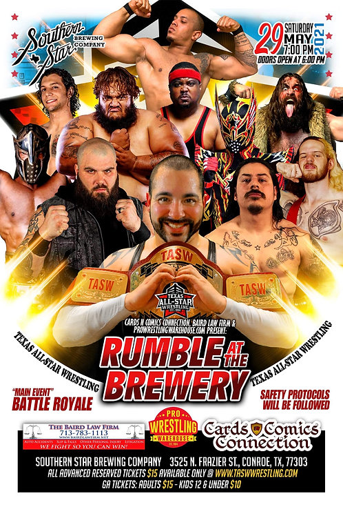 """RUMBLE AT THE BREWERY"" 2021 - 1st Row Reserved Ticket"
