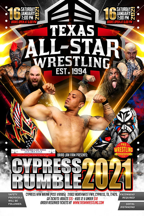 """CYPRESS RUMBLE"" 2021 Reserved Ticket"