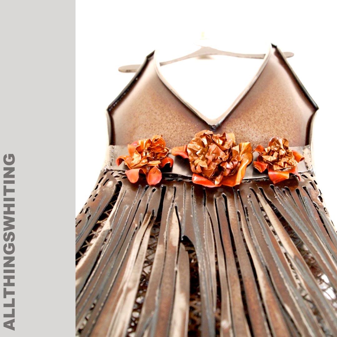 A line V neck dress, copper roses, allthingswhiting