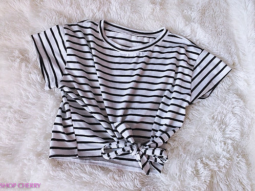 black and white stripe top tied