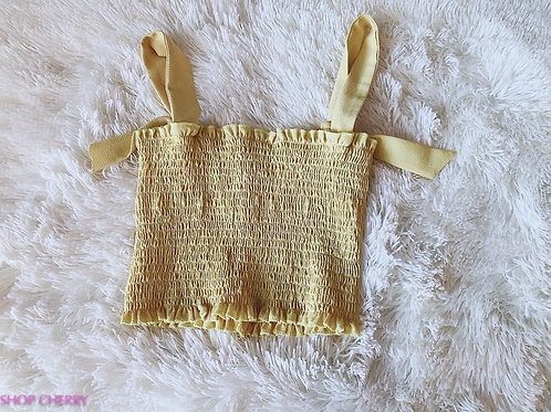yellow stretchy crop top
