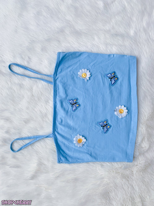 blue butterfly top