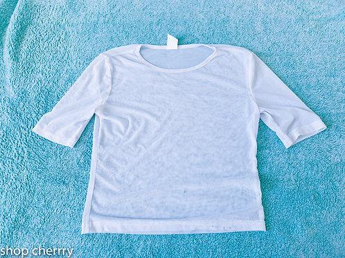 white fishnet top