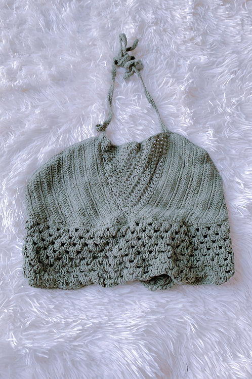 green knit hippy top