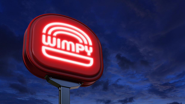 Wimpy Restaurant Exterior Pylon Signage_Night View