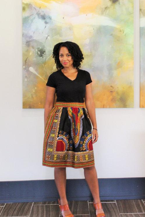 Medium Length Dashiki Print Skirt