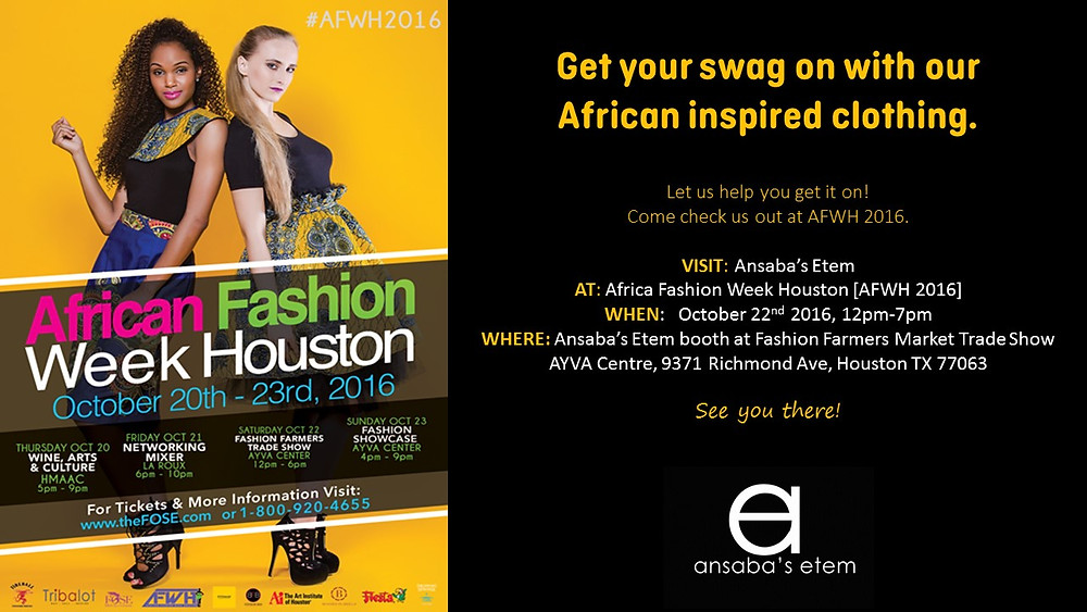 Ansaba's Etem will feature at African fashion Week Houston
