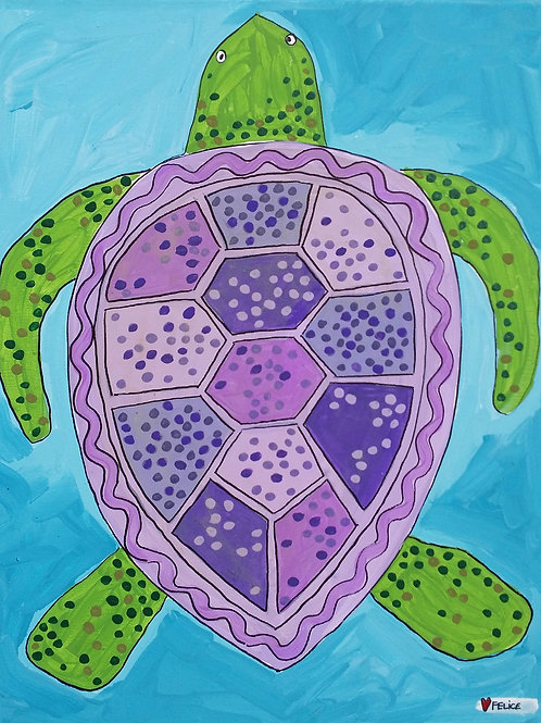 Purple turtle print or notecard