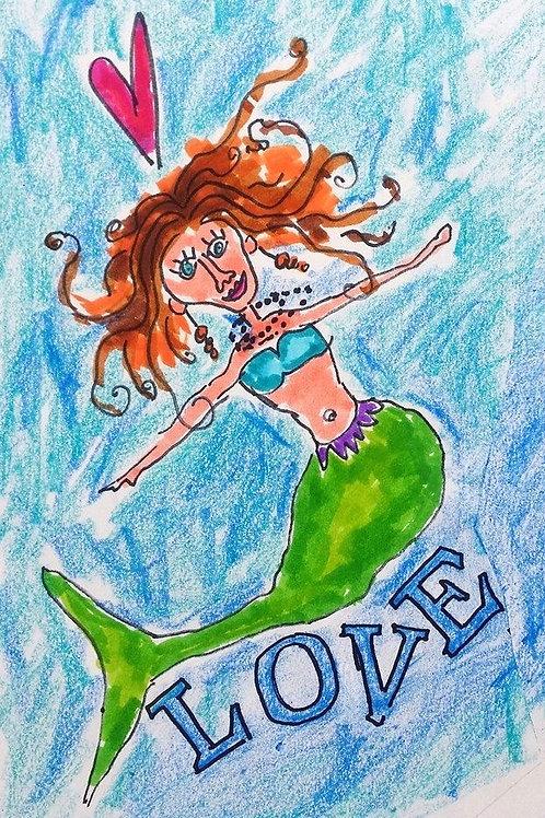 Crazy LOVE mermaid print or notecard