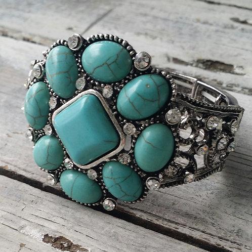 Turquoise and Rhinestone bracelet