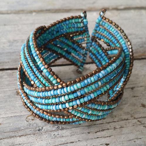 Turquoise beaded cuff bracelet