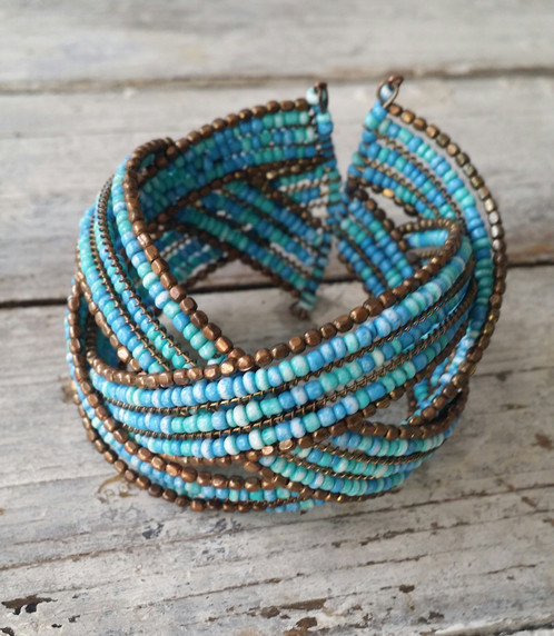 Three Parts Braided To Make A Super Cool Cuff Bracelet Mini Turquoise Beads Trimmed In Gold Costume Jewelry Adjusts So It Will Fit Anyone