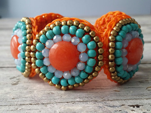 Orange and turquoise circle bracelet