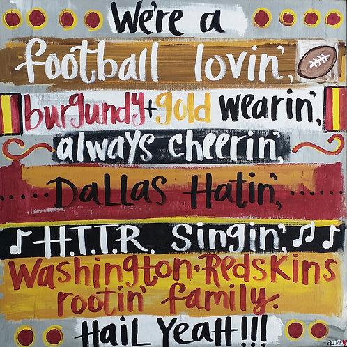 Redskins print or notecard