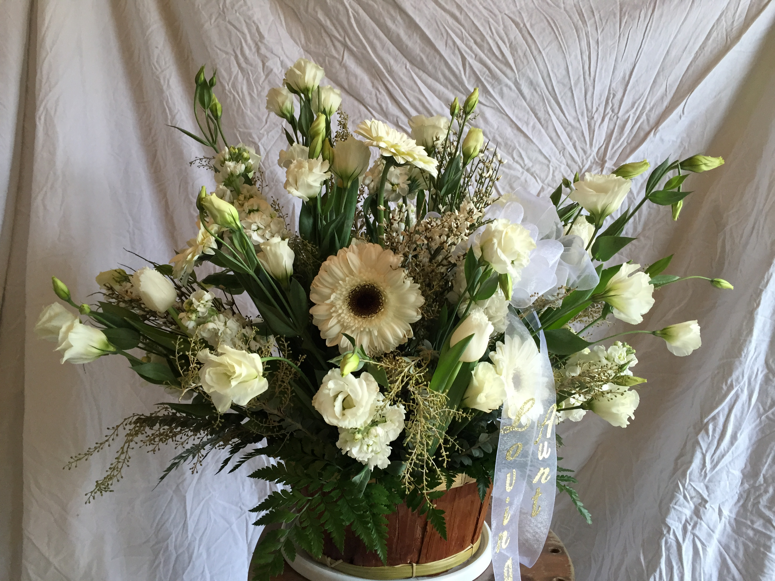 All white memorial basket